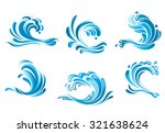 blue water waves symbols... | Shutterstock . vector #321638624