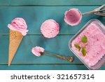 top view pink ice cream in... | Shutterstock . vector #321657314
