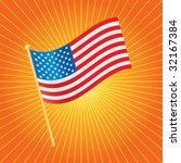 American Flag On Starburst