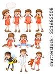 little girl doing different...   Shutterstock .eps vector #321682508