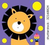 lion birthday greeting card | Shutterstock .eps vector #32168824
