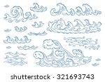 vector set of doodles sea waves  | Shutterstock .eps vector #321693743
