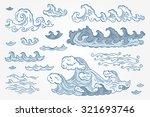 vector set of sea waves   hand... | Shutterstock .eps vector #321693746