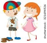 dirty boy and clean girl... | Shutterstock .eps vector #321694526