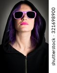 hooded woman with fuchsia hair...   Shutterstock . vector #321698900