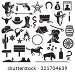 wild west icons set  cowboy... | Shutterstock .eps vector #321704639
