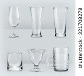 Set of transparent glasses goblets, vector icon