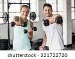 portrait of a couple exercising ... | Shutterstock . vector #321722720