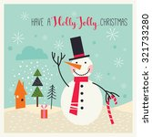 christmas card with snowman | Shutterstock .eps vector #321733280