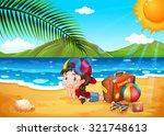 little girl having fun at the...   Shutterstock .eps vector #321748613