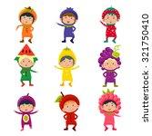 set of cute children wearing... | Shutterstock .eps vector #321750410