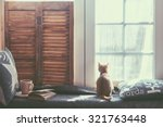 warm and cozy window seat with... | Shutterstock . vector #321763448