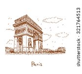 arc de triomphe  paris  france. ... | Shutterstock .eps vector #321764513