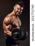 muscular bodybuilder guy doing...   Shutterstock . vector #321771740
