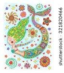 mermaid coloring pencils... | Shutterstock . vector #321820466