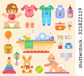 newborn babies with toys and... | Shutterstock .eps vector #321822119