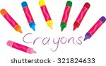 Seven Cartoon Wax Crayons