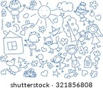 cute happy cartoon doodle kids | Shutterstock .eps vector #321856808