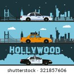 police cars and taxis on city... | Shutterstock .eps vector #321857606