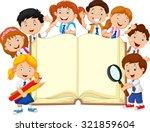 smiley little kids holding book ... | Shutterstock .eps vector #321859604