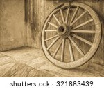 Vintage Wooden Wagon Wheel With ...