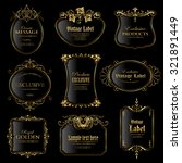 vector set of gold framed labels | Shutterstock .eps vector #321891449