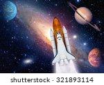 outer space travel shuttle... | Shutterstock . vector #321893114