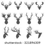 set of a deer head silhouette... | Shutterstock .eps vector #321896309