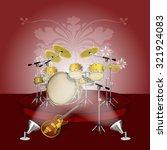 musical background drum set on... | Shutterstock .eps vector #321924083