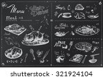 silhouettes dishes for the menu ... | Shutterstock .eps vector #321924104