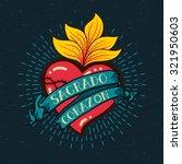 sacred heart print old schooll... | Shutterstock .eps vector #321950603