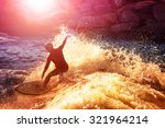 into the sun photo of a surfer... | Shutterstock . vector #321964214