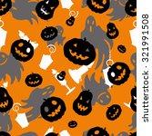 halloween seamless pattern with ... | Shutterstock .eps vector #321991508