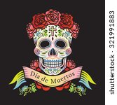 day of the dead skull with... | Shutterstock .eps vector #321991883