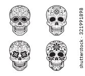 day of the dead skulls  black... | Shutterstock .eps vector #321991898