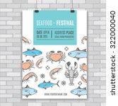 seafood vector billboard ... | Shutterstock .eps vector #322000040