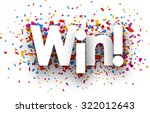 win sign with colour confetti....