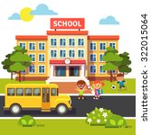 school building  bus and front... | Shutterstock .eps vector #322015064
