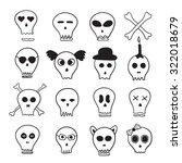 halloween skulls set black and... | Shutterstock .eps vector #322018679