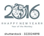 monkey in a circle. new year's... | Shutterstock .eps vector #322024898