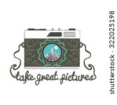 vintage hipster camera with... | Shutterstock . vector #322025198
