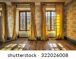 windows with yellow curtains in ... | Shutterstock . vector #322026008
