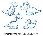 Cute Little Cartoon Dinosaur...