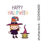 halloween cute little witch | Shutterstock .eps vector #322040600