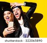 two teenage girls friends in... | Shutterstock . vector #322065890