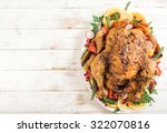 golden rustic and stuffed roast ... | Shutterstock . vector #322070816