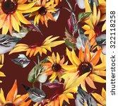 sunflowers seamless pattern on... | Shutterstock . vector #322118258