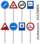 traffic road signs set on a... | Shutterstock . vector #322158890