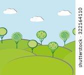 seamless trees landscape. flat... | Shutterstock .eps vector #322164110