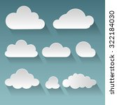 set of white paper clouds with... | Shutterstock .eps vector #322184030